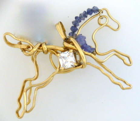 Prancing horse pendant,Tanzanite, gold filled, $$175.0000
