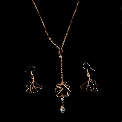 Set Necklace and Earrings, gold filled, $$165.0000