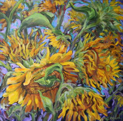 "Sunflowers, oil, 24"" x 24"", $$0.0000"