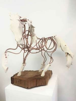 "Frolicking Copper Horse, Clay, copper, maple, 16"" tall, $$2400.0000"