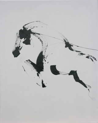 "Black Ink Jumping Horse, Ink, 20""x16"", $$0.0000"
