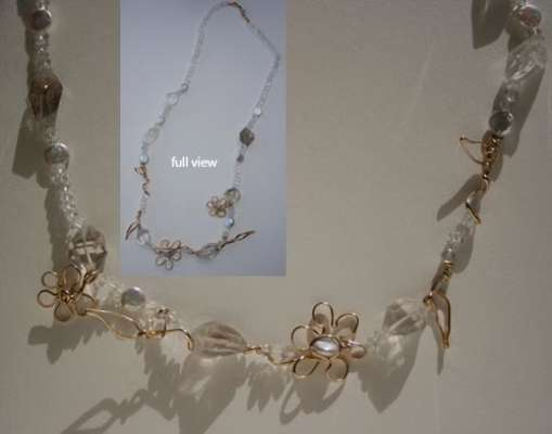 Flowers and Leaves, pearls and quartz, $$0.0000