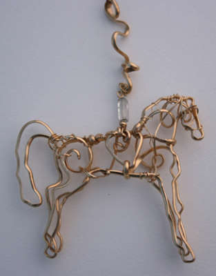 "Saddlebred Horse, gold filled, 3"" wide, $165, 3"", $$250.0000"