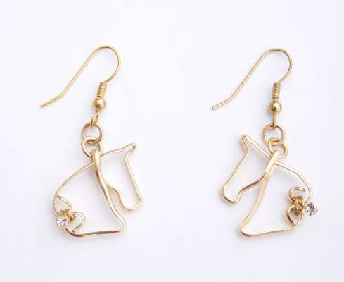 Petite Horse Head earrings, gold-filled with Swarovski crystals, $$75.0000