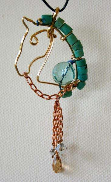 Pendant with turquoise, blue quartz, copper reins